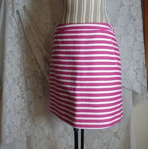 Halogen Pink & White Striped A-Line Skirt Size 8